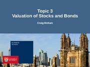 Topic Three - Valuation of Stocks and Bonds