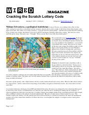 2011-0131 Wired [Lehrer] Cracking the Scratch Lottery Code