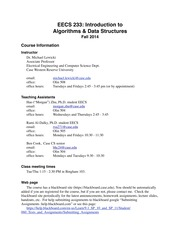 EECS 233 Course Information & Syllabus 2014