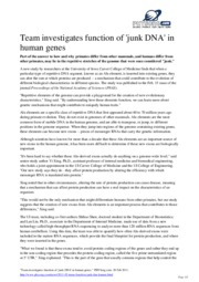 Article on non-translated DNA - human evolution