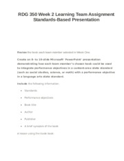 RDG 350 Week 2 Learning Team Assignment Standards-Based Presentation