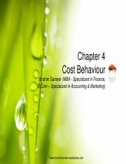 Chapter 4 Cost Behaviour