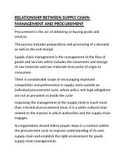 RELATIONSHIP BETWEEN SUPPLY CHAIN MANAGEMENT AND PROCUREMENT.docx