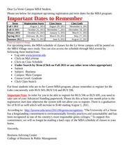Important MBA 2011-2012 Registration and Term Dates - Main Campus in La Verne