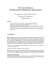 [7] On User Interfaces for Educational Multimedia Applications