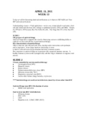 Antiviral as it relates to Aids week 13 outline