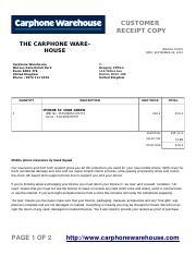 Carphone Docx Customer Receipt Copy The Carphone Warehouse Carphone Warehouse Wessex Gate Retail Park Poole Bh15 3te United Kingdom Phone 0370 111 Course Hero