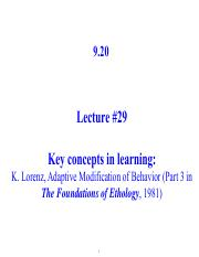 Lecture 29 Notes - Konrad Lorenz on learning (cont.)