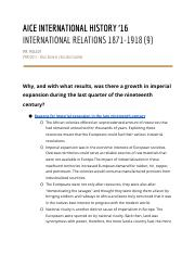 International Relations 1871-1918 Study Guide