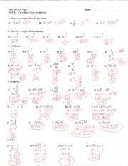 Test Review Unit 3 Answer Key - key Algebra 2 Test Review