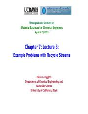 Chapter 7- Recycle Problems