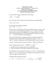 Practice problems of Exponential and Logarithmic function