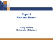 Topic Five - Risk and Return