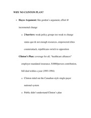 WHY NO CLINTON PLAN- What is clinton's plan?