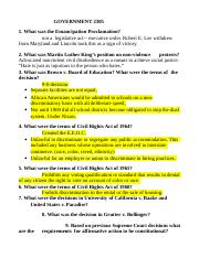 GOVERNMeNT 2305 Civil Rights questions.doc