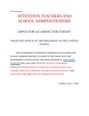 Carter Job Advertisement