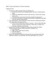 Week 7-Case Study QUestions Servant Leadership Healthcare Case(1).docx