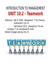 ITM - Lecture 10.2 -Teamwork