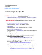 NOTES - World Lit - Sentence fragments and run ons.docx