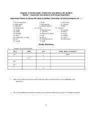 Chapter 2 Study Guide - Chemistry and water