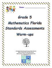 Grade 5 FSA Warm-ups pdf - Name Grade 5 Mathematics Florida