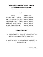 COMPUTERIZATION OF CHAMBER RECORD KEEPING SYSTEM