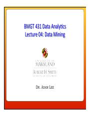Lecture 04 - Data Mining (3)