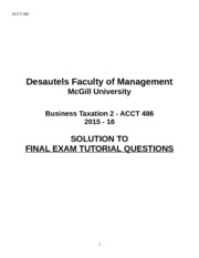 ACCT 486 Final Exam Tutorial Questions - Solution 2015 - 16