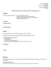 THE CAR FRAMEWORK--Case Analysis Worksheet