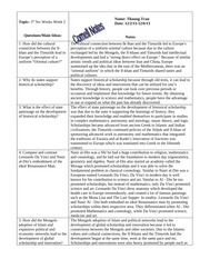 W HIST Cornell Notes- Innovations and Intro to Renaissance
