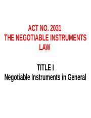 1ST LECTURE ON NEGOTIABLE  INSTRUMENTS  for students (1).odp