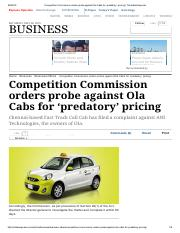 CCI orders probe against Ola Cabs for 'predatory' pricing _ The Indian Express