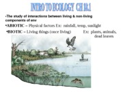 ch 18.1 & 18.2 a bio intro to ecology