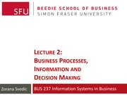 Lecture 2 - Business Processes, Information & Decision Making