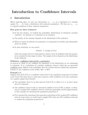 Introduction to confidence intervals lecture notes outline
