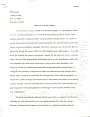 Failure of Love and Marriage Essay