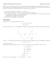 Exam 1 Spring 2013 Solution on Calculus 1 with Algebra