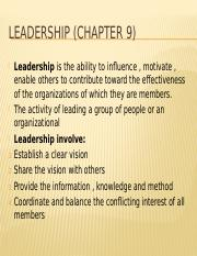 Leadership (chapter 9)