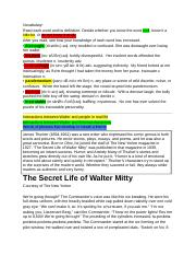 Steele Sevison's Secret Life of Walter Mitty Vocab and Text