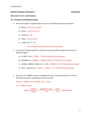 Work Sheet 1: Matter and Measurement Solutions