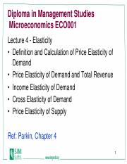 Eco101 Lecture 4 Elasticity Pdf Diploma In Management Studies