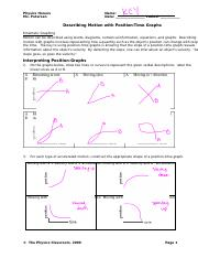 Describing Motion- Position vs. Time Graphs Answers