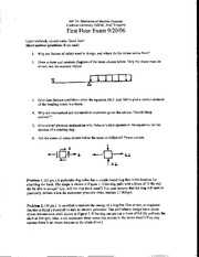 Exam 1 Fall 2006 Solution Mechanics of Machine Elements