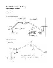 Homework 7 Solution on Dynamics of Machinery