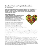 Benefits of Fruits and Veggies for Children Article