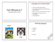 Lecture 7  - Language