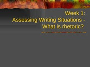 Week 1 - Assessing Writing Situations - Part 1