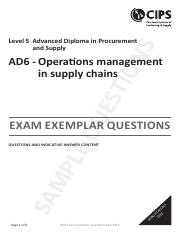 AD6_Operations Management in Supply Chains_Questions and Answers
