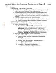 Lecture Notes for American Government Exam 2