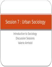 Session 7 Urban Sociology